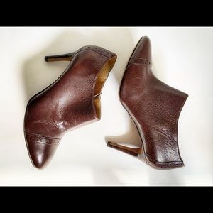 🔥Nine West Dark Brown Leather Ankle Boots